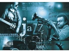 Fotobehang Muziek, Jazz | Blauw | 152,5x104cm