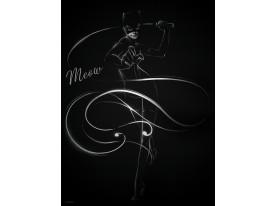 Fotobehang Papier Vrouw, Kat | Zwart | 184x254cm
