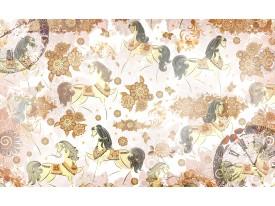 Fotobehang Paarden | Bruin, Crème | 104x70,5cm
