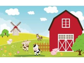Fotobehang Kinderboerderij | Rood, Groen | 104x70,5cm