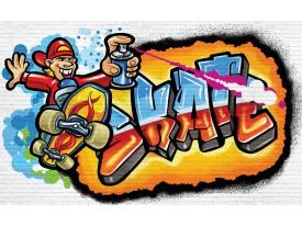 Fotobehang Graffiti | Blauw, Oranje | 104x70,5cm