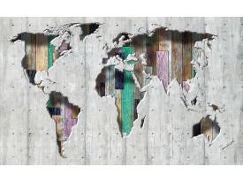 Fotobehang Wereldkaart | Grijs, Groen | 312x219cm