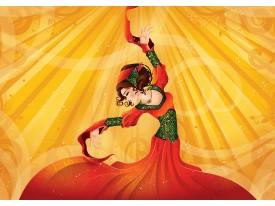 Fotobehang Vrouw, Dansen | Geel | 312x219cm