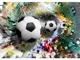 Fotobehang Voetbal | Turquoise, Geel | 312x219cm