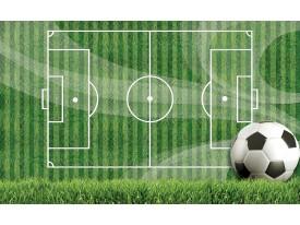 Fotobehang Papier Voetbal | Groen, Wit | 254x184cm