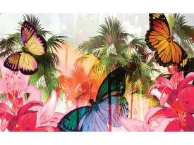 Fotobehang Papier Vlinder, Abstract | Roze | 254x184cm