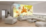 Fotobehang Vlies   Bloemen   Groen, Oranje   254x184cm