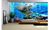 Fotobehang Vlies | Dieren | Grijs, Blauw | 254x184cm
