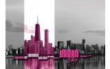 Fotobehang Vlies   Stad   Zwart, Roze   254x184cm