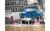 Fotobehang Vlies | Oldtimer, Auto | Blauw, Grijs | 254x184cm