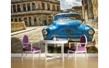Fotobehang Vlies | Oldtimer, Auto | Blauw, Bruin | 254x184cm