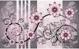 Fotobehang Vlies   Bloemen   Roze, Grijs   254x184cm