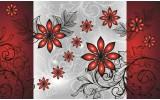 Fotobehang Vlies   Bloemen   Grijs, Rood   254x184cm