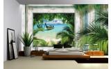 Fotobehang Vlies   Strand   Groen, Grijs   254x184cm