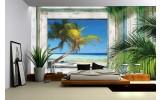 Fotobehang Vlies | Strand | Groen, Grijs | 254x184cm