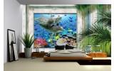 Fotobehang Vlies   Dolfijnen   Groen, Blauw   254x184cm