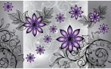 Fotobehang Vlies | Bloemen | Paars, Grijs | 254x184cm