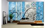 Fotobehang Vlies | Bloemen | Blauw, Grijs | 254x184cm