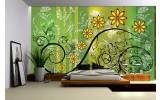 Fotobehang Vlies | Bloemen | Groen, Geel | 254x184cm