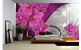 Fotobehang Vlies | Bloemen, Orchidee | Roze, Grijs | 254x184cm