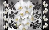 Fotobehang Vlies | Bloemen, Orchideeën | Wit, Grijs | 254x184cm