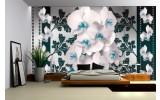 Fotobehang Vlies | Bloemen, Orchideeën | Turquoise, Wit | 254x184cm