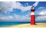 Fotobehang Vlies | Vuurtoren, Strand | Blauw | 254x184cm