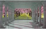 Fotobehang Vlies | Bomen | Roze, Groen | 254x184cm