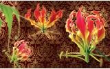 Fotobehang Vlies   Bloemen   Bruin   254x184cm