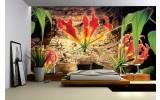 Fotobehang Vlies   Bloemen, Hout   Bruin   254x184cm