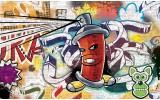 Fotobehang Vlies   Graffiti   Groen, Geel   254x184cm