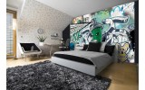 Fotobehang Vlies | Graffiti | Groen, Grijs | 254x184cm