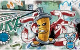 Fotobehang Vlies | Graffiti | Groen, Blauw | 254x184cm