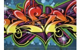Fotobehang Vlies | Graffiti, Street art | Blauw | 254x184cm
