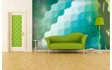 Fotobehang Vlies   Abstract   Groen, Blauw   254x184cm