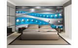 Fotobehang Vlies | Abstract, Modern | Zilver, Blauw | 254x184cm