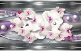 Fotobehang Vlies   Bloemen, Orchidee   Zilver, Paars   254x184cm