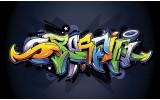 Fotobehang Vlies | Graffiti | Zwart, Groen | 254x184cm