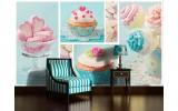 Fotobehang Vlies | Snoepjes | Turquoise, Roze | 254x184cm