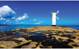 Fotobehang Vlies   Vuurtoren   Blauw   254x184cm