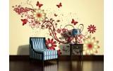 Fotobehang Vlies | Bloemen | Geel, Rood | 254x184cm