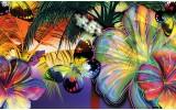 Fotobehang Vlies | Vlinder, Bloemen | Geel | 254x184cm