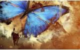 Fotobehang Vlies | Vlinder, Abstract | Blauw | 254x184cm