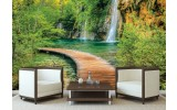 Fotobehang Vlies | Natuur, Waterval | Groen | 254x184cm