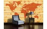 Fotobehang Vlies | Wereldkaart | Oranje | 254x184cm