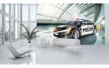 Fotobehang Vlies | Politieauto | Grijs | 254x184cm