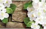 Fotobehang Vlies | Hout, Bloemen | Wit, Groen | 254x184cm