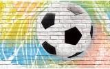 Fotobehang Vlies   Voetbal, Muur   Geel   254x184cm