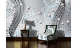 Fotobehang Vlies | Modern | Zilver, Blauw | 254x184cm