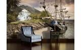 Fotobehang Vlies   Boot, Natuur   Grijs   254x184cm